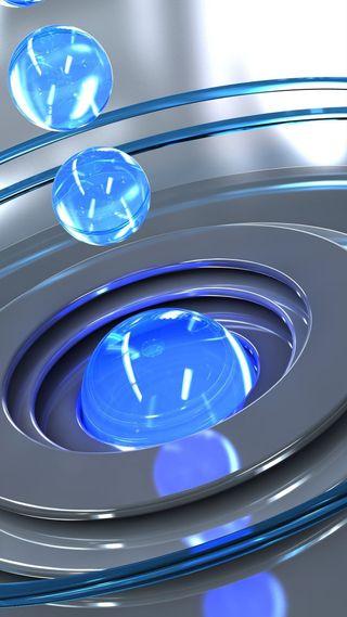 Обои на телефон сферы, стекло, стальные, синие