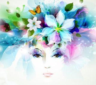 Обои на телефон лепестки, цветы, спрей, прекрасные, листья, девушки, глаза, бабочки