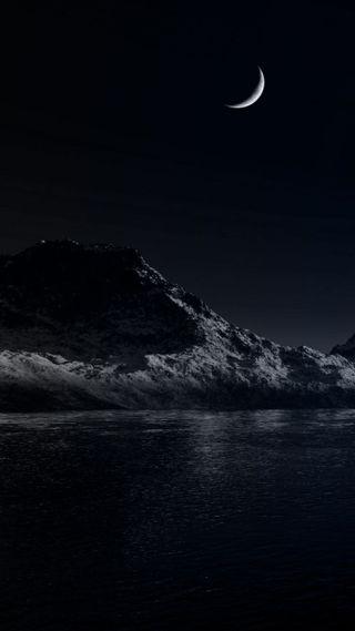 Обои на телефон горы, черные, темные, природа, озеро, ночь, луна, крутые