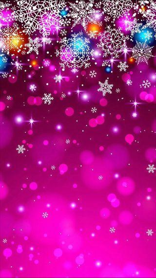 Обои на телефон праздник, снег, сверкающие, розовые, рождество, падение, зима, falling snow