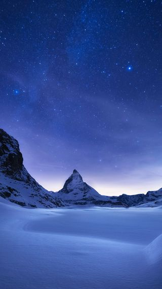 Обои на телефон сяоми, снег, ночь, небо, лед, зима, горы, xiaomi