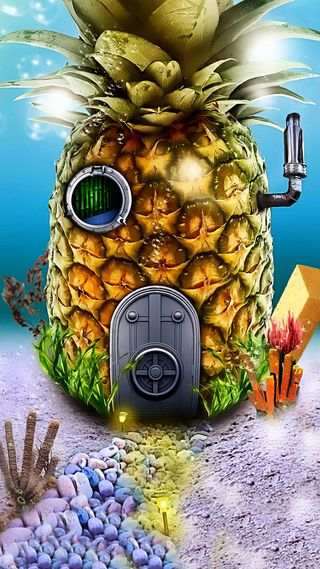 Обои на телефон фрукты, фантазия, под, море, ананас