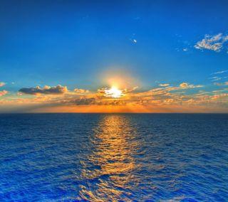 Обои на телефон солнце, море, природа, океан, небо, закат