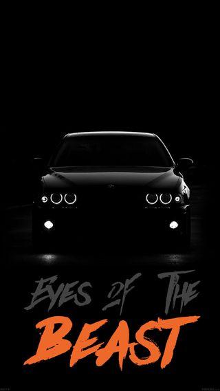 Обои на телефон зверь, темные, огни, ночь, машины, глаза, quates, projector lights, eyes of the beast