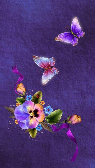 Обои на телефон девчачие, цветы, фон, фиолетовые, симпатичные, приятные, прекрасные, орхидеи, картина, бабочки, арт, beautiful background, art