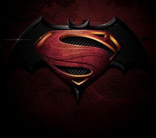 Обои на телефон супергерои, супермен, против, логотипы, бэтмен