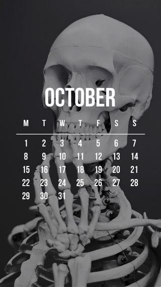 Обои на телефон скелет, октябрь, календарь, zedgeoct18, october skeleton