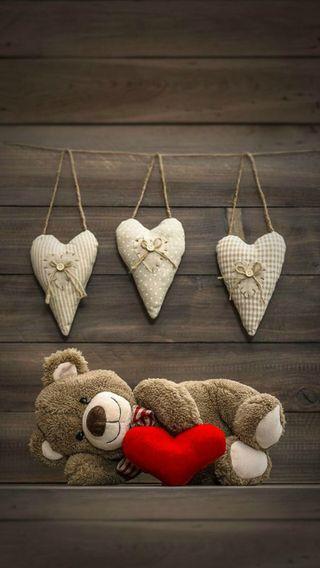 Обои на телефон сердце, медведь, тедди
