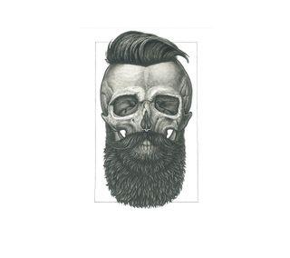 Обои на телефон хипстер, череп, борода, live, barbe