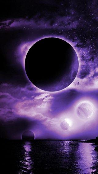 Обои на телефон фиолетовые, природа, луна, космос, затмение, абстрактные