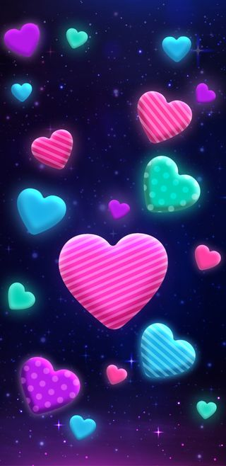 Обои на телефон красочные, девчачие, симпатичные, сердце, милые