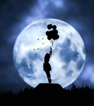 Обои на телефон фотошоп, шары, ночь, манипуляция, луна, космос, звезды, девушки