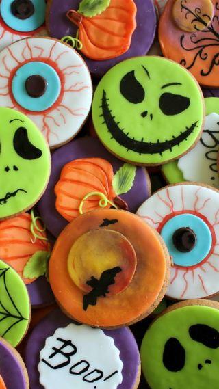 Обои на телефон летучая мышь, хэллоуин, тыква, сладости, глаза, бу, halloween sweets