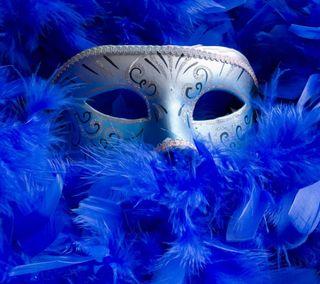 Обои на телефон отлично, синие, перья, маска, глаза, masquerade