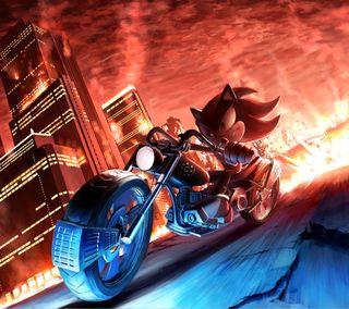 Обои на телефон тень, соник, огонь, мотоциклы, еж, город, the hedgehog