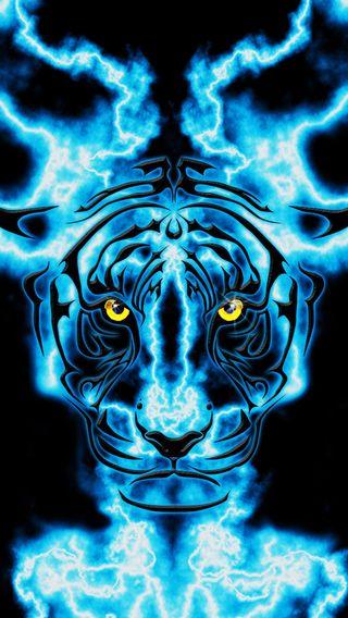 Обои на телефон электрические, тигр