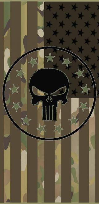 Обои на телефон каратель, череп, флаг, американские, multicam
