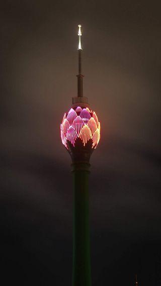 Обои на телефон эффекты, лотус, свет, природа, ночь, небо, красота, башня, башни, lotus tower, light effects