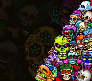 Обои на телефон чернила, тату, череп, цветные, темные, смертоносный, скелет, микс, зло, арт, art, a deadly mix