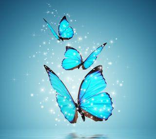 Обои на телефон art, blue butterlies, природа, синие, крутые, арт, красочные, фантазия, бабочки, летать