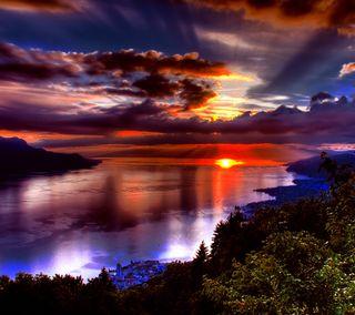 Обои на телефон естественные, солнце, природа, океан, море, закат, вода
