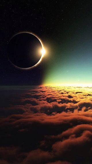 Обои на телефон солнце, небо, затмение