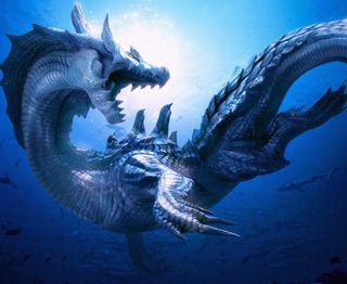 Обои на телефон подводные, охотник, monster hunter, logren, lagiacrus, 3ds