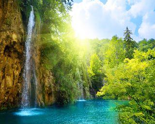 Обои на телефон водопад, солнце, озеро, beam