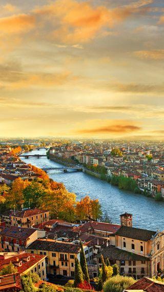 Обои на телефон река, прекрасные, пейзаж, италия, закат, город