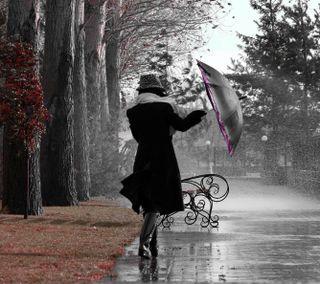 Обои на телефон скамейка, женщины, парк, осень, одиночество, леди, дождь, деревья, день, грустные, амбрелла