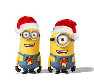 Обои на телефон санта, счастливое, рождество, новый, миньоны, милые, забавные