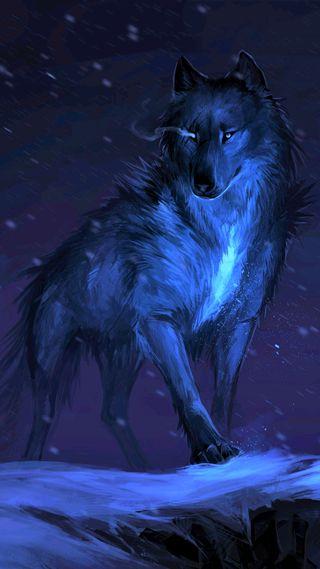 Обои на телефон фантазия, синие, животные, волк