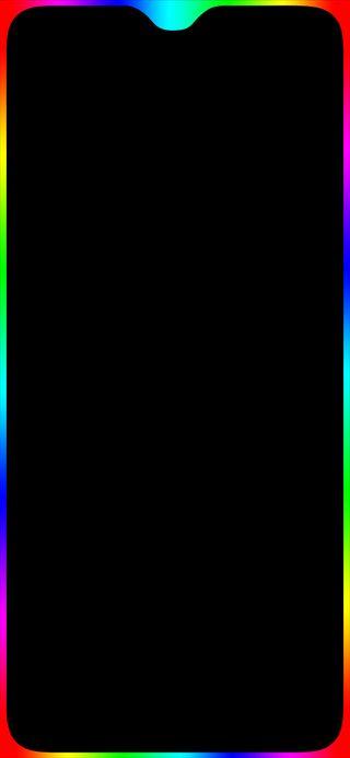 Обои на телефон oneplus, oneplus6t, led, color edge wallpaper, черные, цветные, грани, свет, выемка, граница