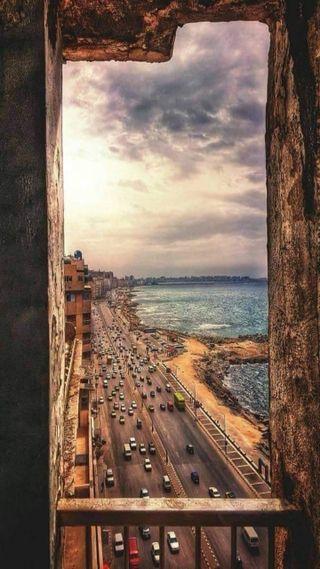 Обои на телефон египет, закат, город, alexandria