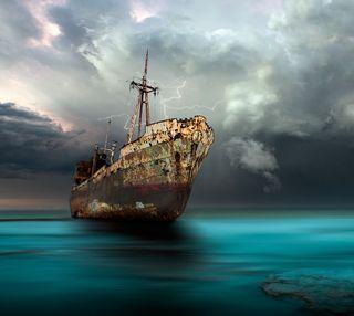Обои на телефон корабли, море, мертвый, rusty, a dead ship