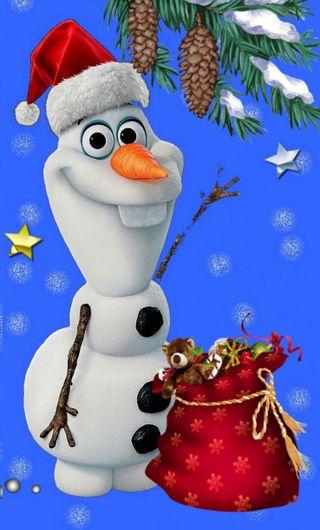 Обои на телефон снежинки, холодное, счастливое, снеговик, рождество, подарок, олаф, 480x800px