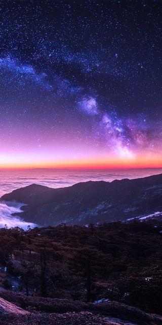 Обои на телефон туманность, пейзаж, ночь, галактика, galaxy