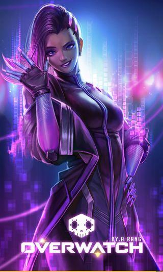 Обои на телефон хакер, игровые, фиолетовые, sombra, overwatch