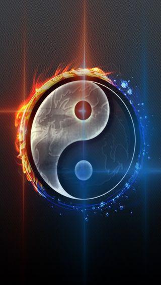 Обои на телефон янь, холод, огонь, абстрактные, ying yang