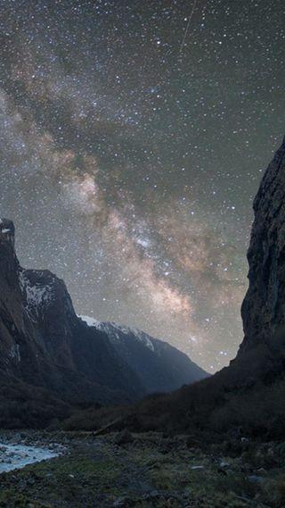 Обои на телефон холод, путь, ночь, млечный, горы, beutifull