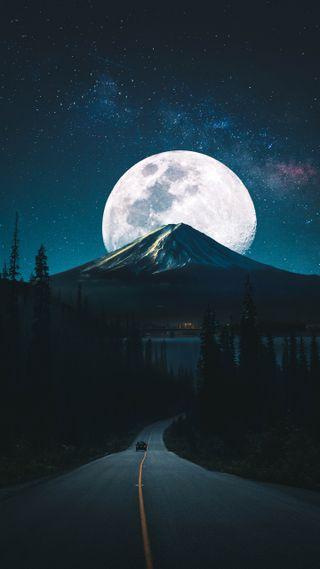 Обои на телефон улица, темные, ночь, луна, горы