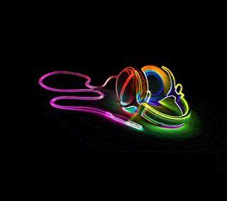 Обои на телефон наушники, цветные, ночь, lightfull headphones