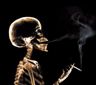 Обои на телефон скелет, сигареты
