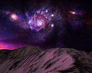 Обои на телефон планеты, фиолетовые, ночь, космос, звезды, горы, галактика, galaxy