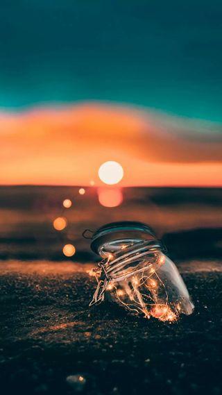 Обои на телефон бутылка, свет, сверкающие, прекрасные, песок, океан, ночь, море, вселенная, light in a bottle, fairylights