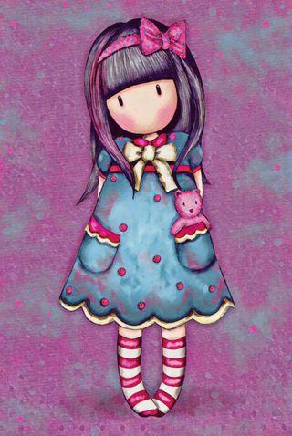 Обои на телефон медведь, фиолетовые, розовые, милые, лук, девушки, wee girl, santoro, gorjuss