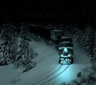 Обои на телефон поезда, снег, ночь, лес, дерево