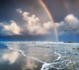 Обои на телефон отражение, синие, радуга, прекрасные, пляж, океан, облака, небо