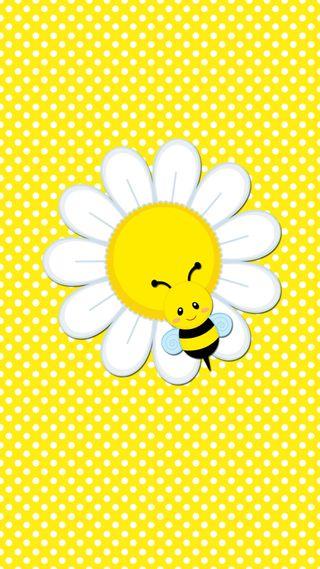Обои на телефон пчела, маргаритка