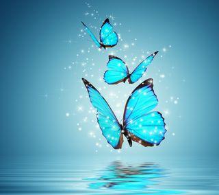 Обои на телефон отражение, синие, прекрасные, вода, бабочки, абстрактные, water reflection